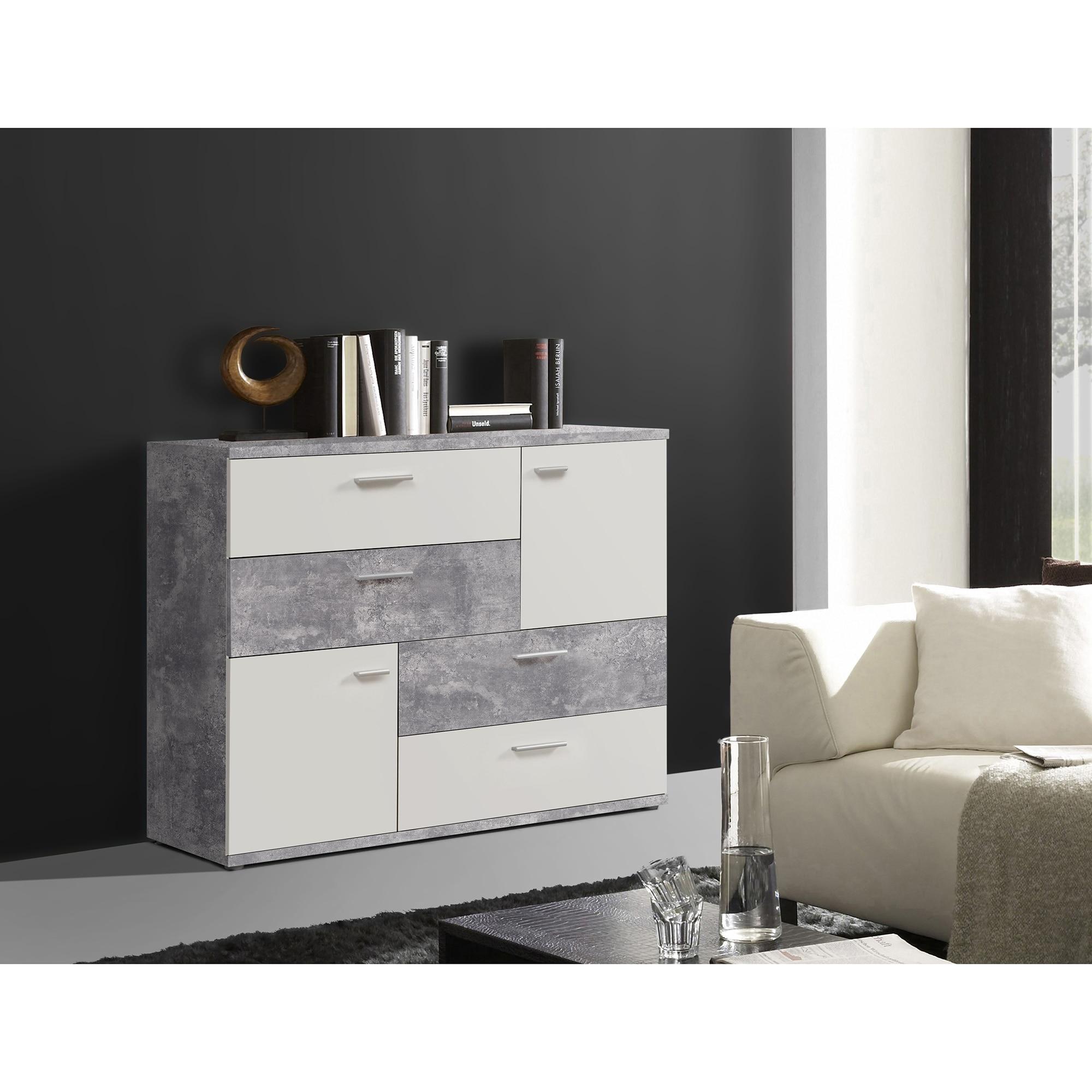 Fotografie Comoda Kring Tetris, 125x96x41.3 cm, culoare alb/optica beton, 4 sertare 2 usi
