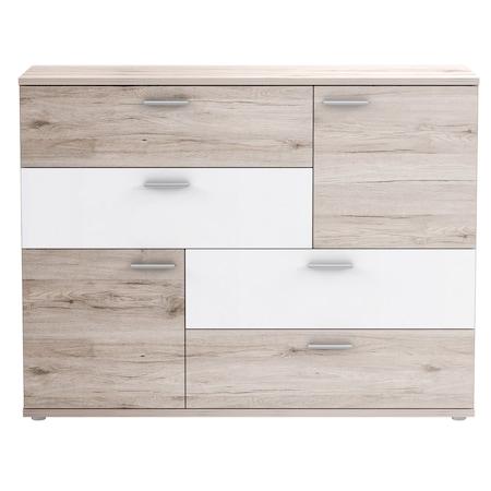 Comoda Kring Tetris, 125x96x41.3 cm, culoare stejar nisipiu/alb, 4 sertare 2 usi