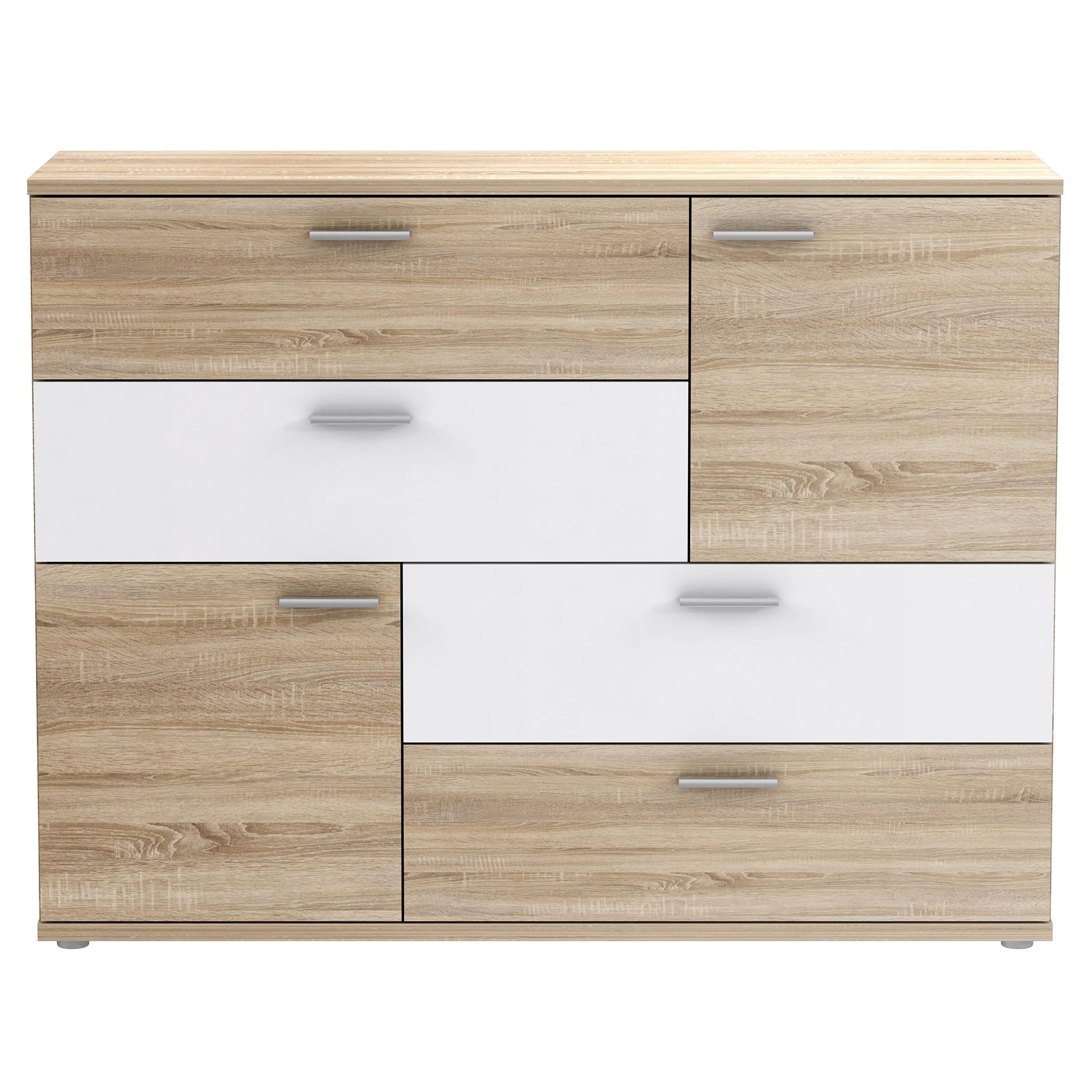 Fotografie Comoda Kring Tetris, 125x96x41.3 cm, culoare stejar sonoma/alb, 4 sertare 2 usi