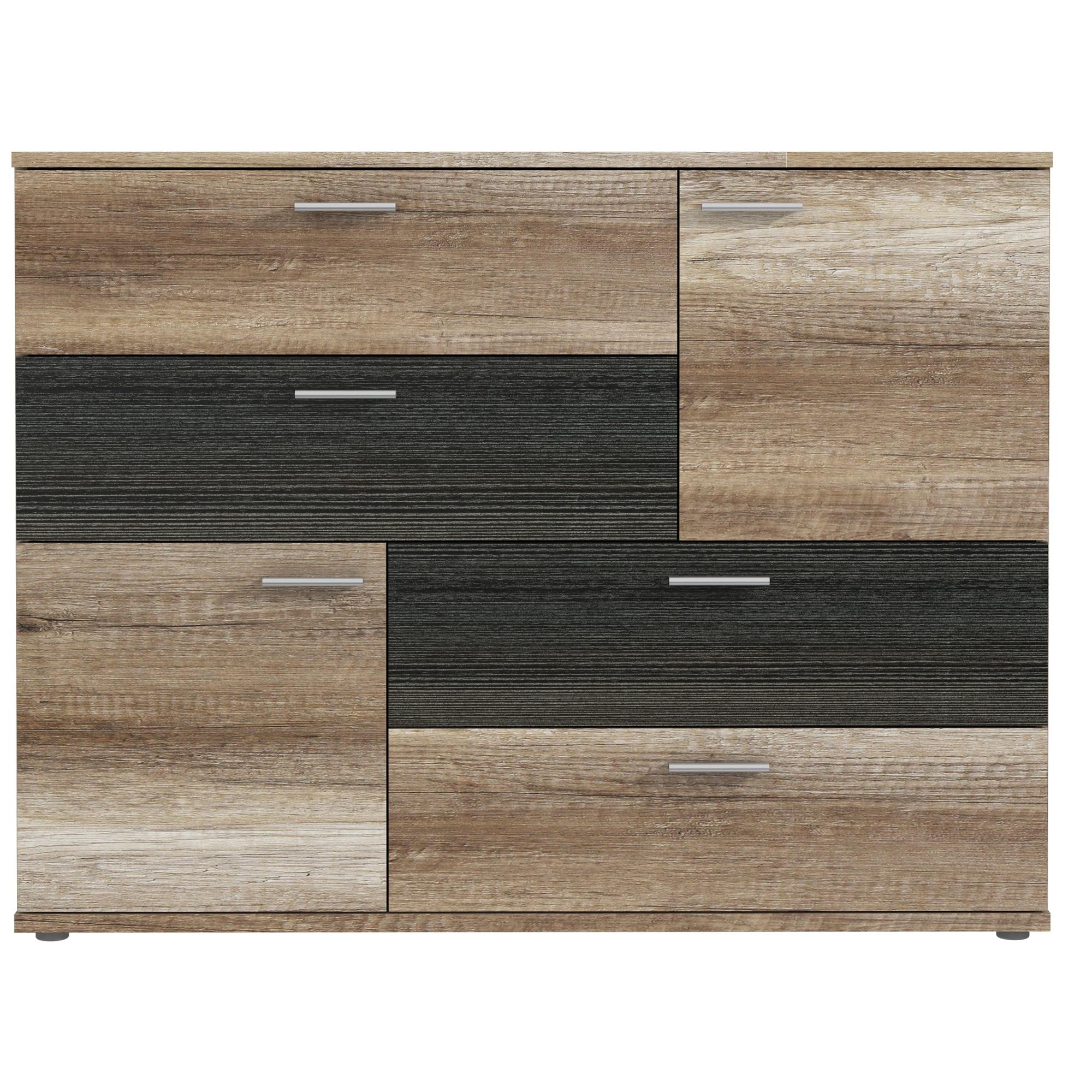 Fotografie Comoda Kring Tetris, 125x96x41.3 cm, culoare stejar Antic/touchwood, 4 sertare 2 usi