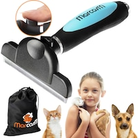 Тримерна четка за кучета и котки с дълга или къса коса с бутон за премахване на косми за големи и средни животни - Blue L