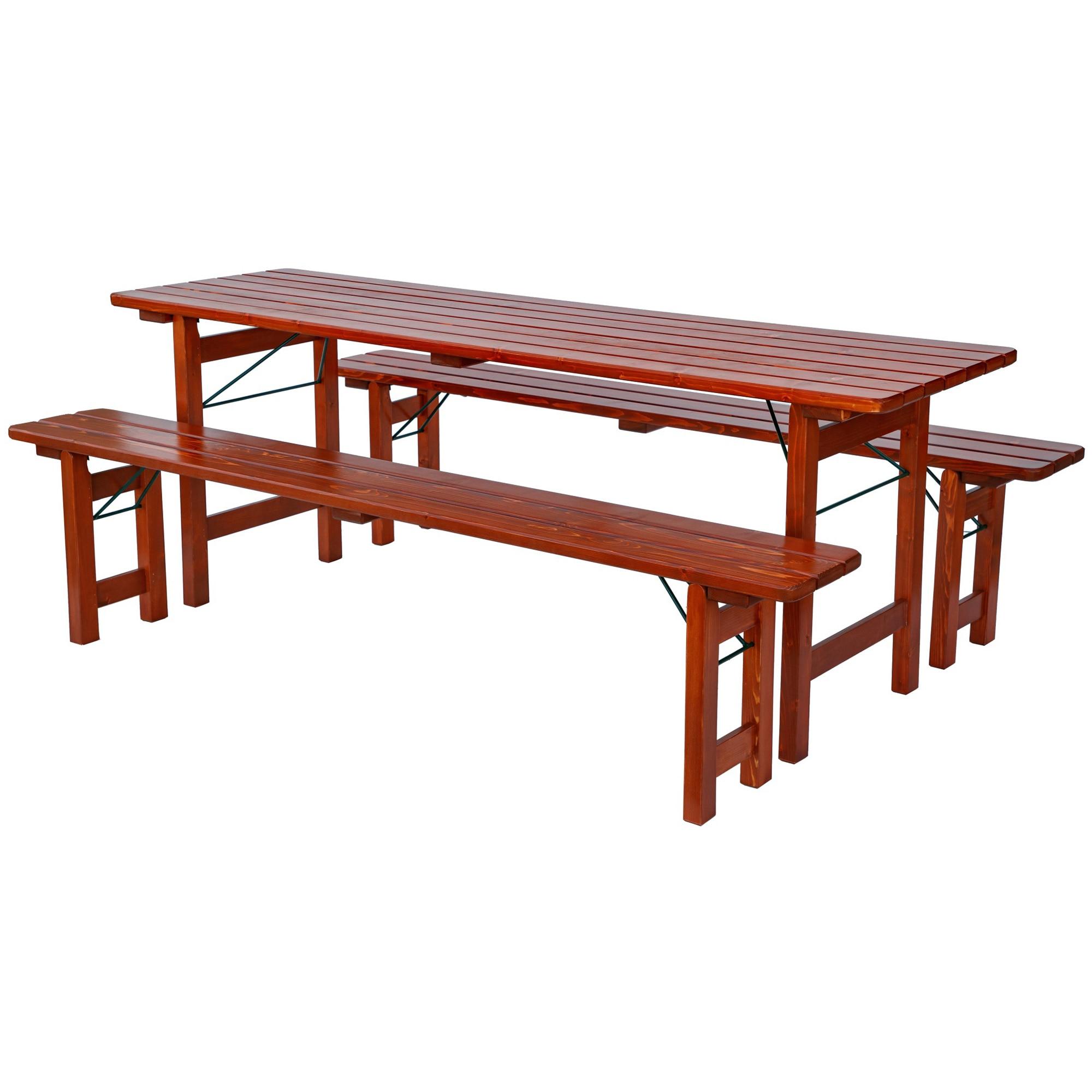 Fotografie Set mobilier gradina BAVARIA lemn lacuit, masa 60x200 cm, 2 banci 27x200 cm