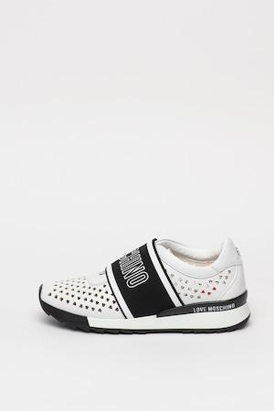 Love Moschino, Bebújós műbőr sneaker kivágott részletekkel, Fehér, 40