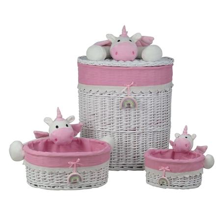 Комплект от 3 плетени кошници Bedora, Еднорог, Розови