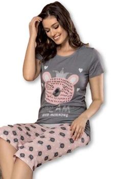 Női pamut pizsama,rövid ujjú,capri-halász alsóval,púderrózsa-szürke,cicás,S