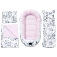5 darabos babafészek szett, Bellochi (babakosár, fehérnemű, matrac, párna), fehér / szürke / rózsaszín, PINK BERRY