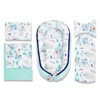 5 darabos babafészek szett, Bellochi ( babakosár, fehérnemű, matrac, párna ), bársony, menta, COZY DREAM