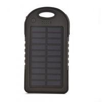 Baterie externa cu incarcare solara, 5000 mAh, 2 porturi USB, Black/Black