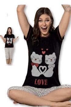 Női pamut pizsama,rövid ujjú,capri-halász alsóval,fekete-fehér,pöttyös,cicás,L