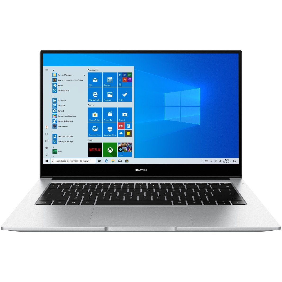 "Fotografie Laptop ultraportabil Huawei MateBook D14 2020 cu procesor AMD Ryzen™ 7 3700U pana la 4.00 GHz, 14"", Full HD, 8GB, 512GB SSD, AMD Radeon Graphics, Windows Home, Silver"