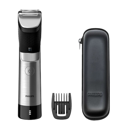 Тример за брада Philips Prestige BT9810/15, 30 настройки, 0.4-10 мм, Технология SteelPrecision, 100% метално острие, Сензор PowerAdapt, Водоустойчив, Калъф за транспортиране