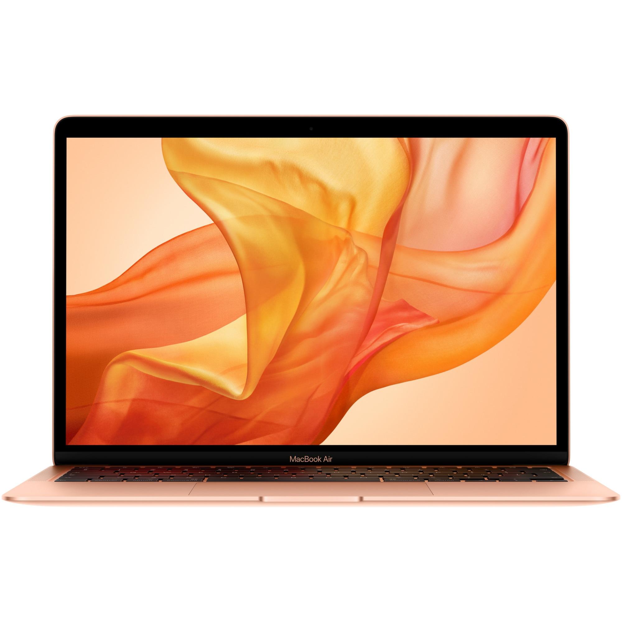 Fotografie Laptop Apple MacBook Air 13 (2020) ecran Retina, procesor Intel® Core™ i3 1.1GHz, 8GB, 256GB SSD, Intel Iris Plus Graphics, Gold, INT KB
