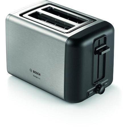 Bosch TAT3P420 DesignLine kenyérpirító, 970 W, 2 szeletes, Inox