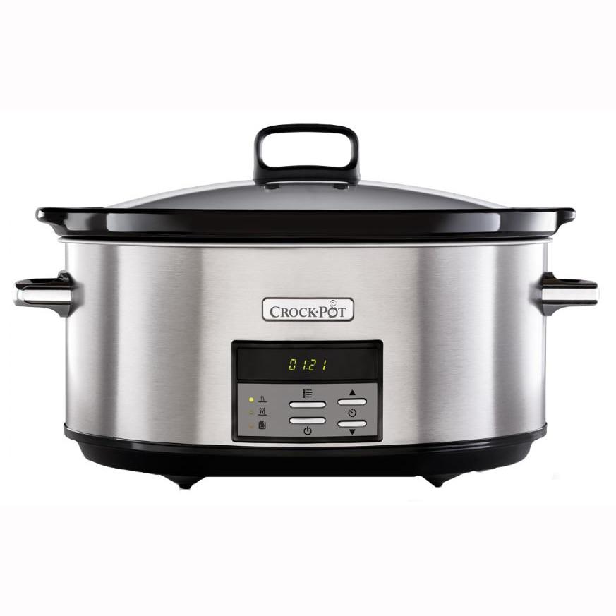 Fotografie Slow cooker Crock-Pot CSC063X-01, 7.5L Digital, vas ceramica, capac de sticla, Inox