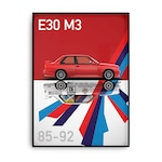 Постер с черна рамка BMW M3 E30 V3 30x40sm