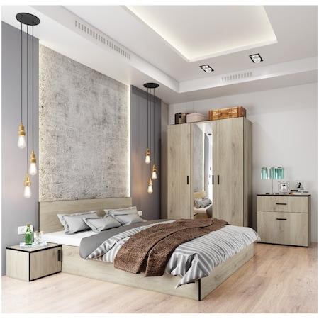 Dormitor Irim Treff , Pat 160x200 cm, Dulap, 2 Noptiere, Culoare Castan