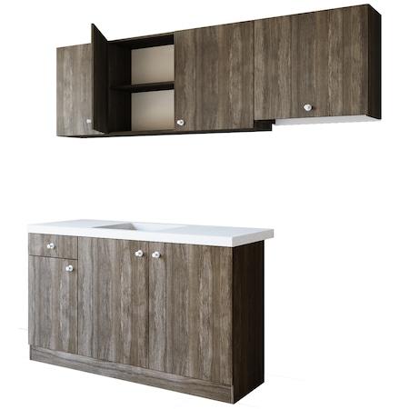 Комплект кухненски мебели Irim Kirra, 200x45x141,5 см, Sonoma Dark