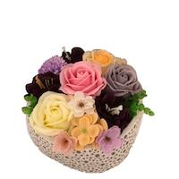 Aranjament floral de sapun in vas ceramic
