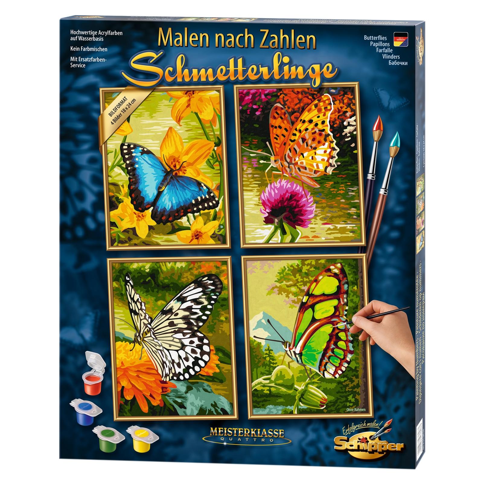Fotografie Set pictura pe numere Schipper Quattro - Butterflies, 36x48 cm