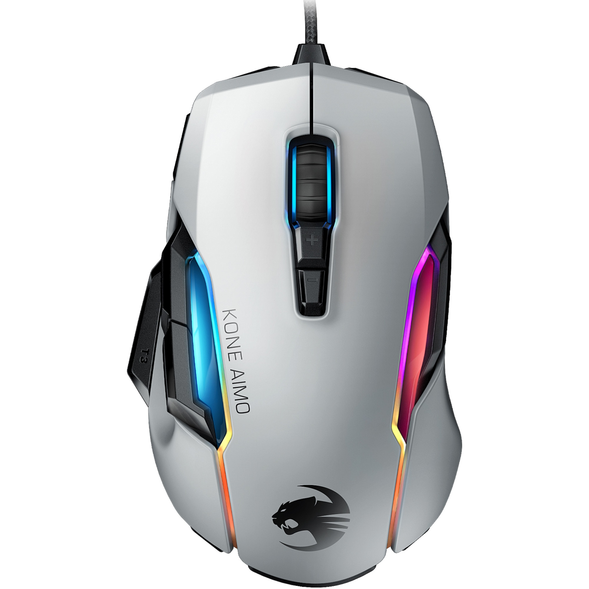 Fotografie Mouse gaming Roccat Kone AIMO - remastered, iluminare RGB 5 zone, Alb