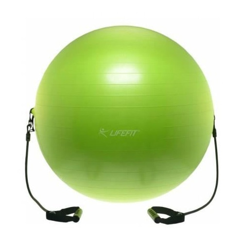 Fotografie Minge fitness Lifefit cu corzi, 75cm, verde