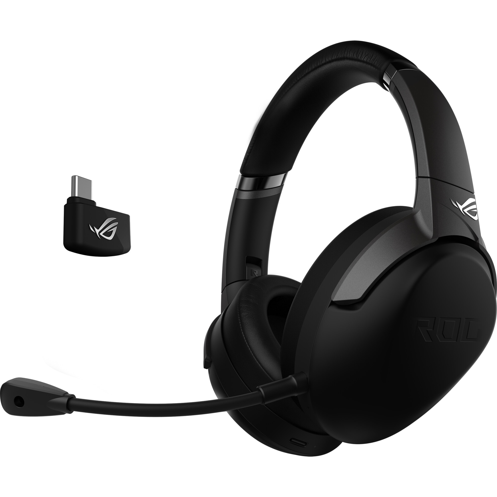 Fotografie Casti gaming wireless ASUS ROG Strix GO 2.4, microfon AI pentru anularea zgomotului, difuzoare ASUS Essence 40mm, compatibile multiplatforma, 3.5mm/2.4GHz(USB-C/USB 2.0), pliabile, Negru