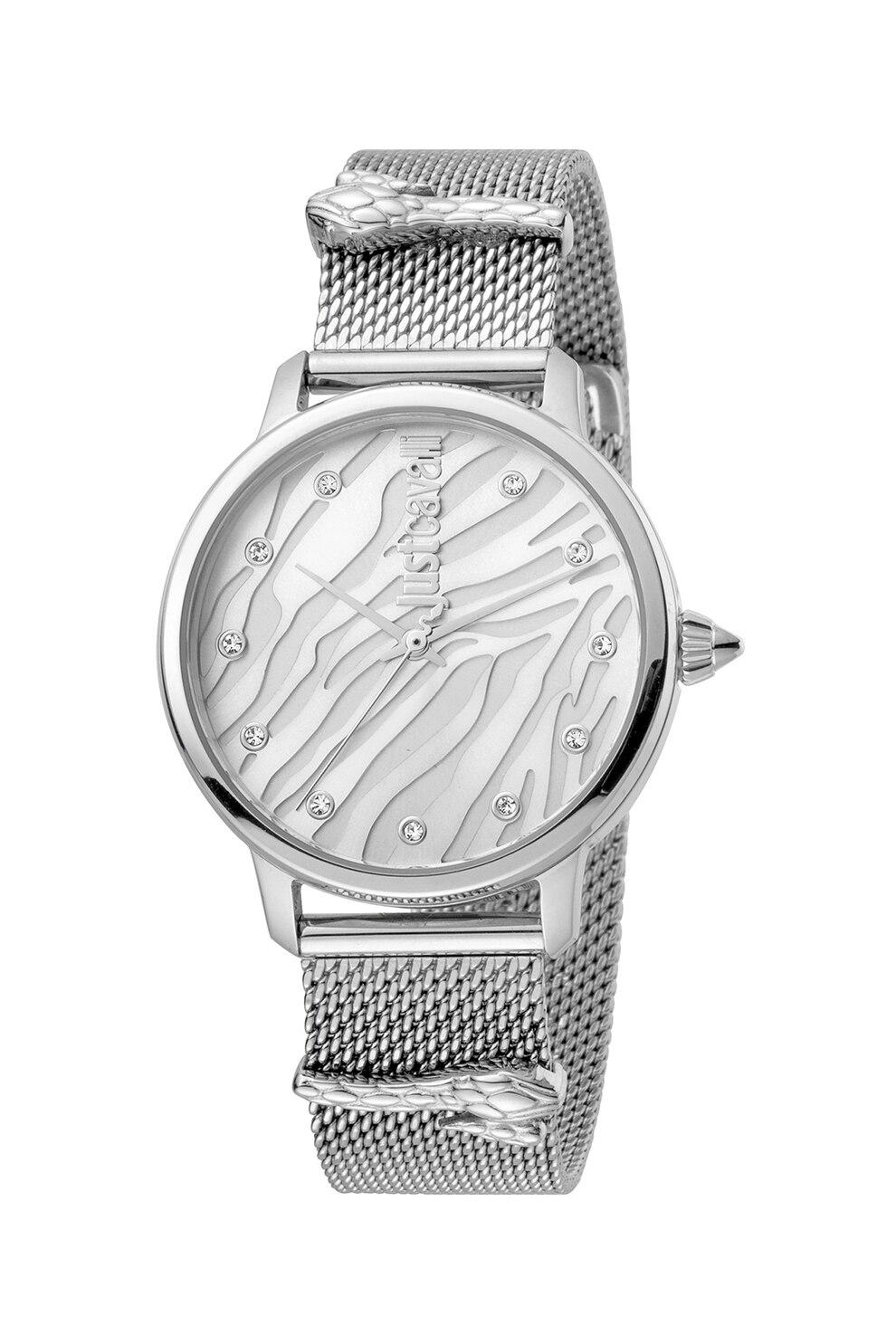 Fotografie JUST CAVALLI, Ceas din otel inoxidabil, decorat cu zirconia, Argintiu