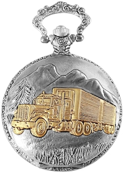 Excellanc kamionos nemesacél zsebóra lánccal, arany-ezüst színű