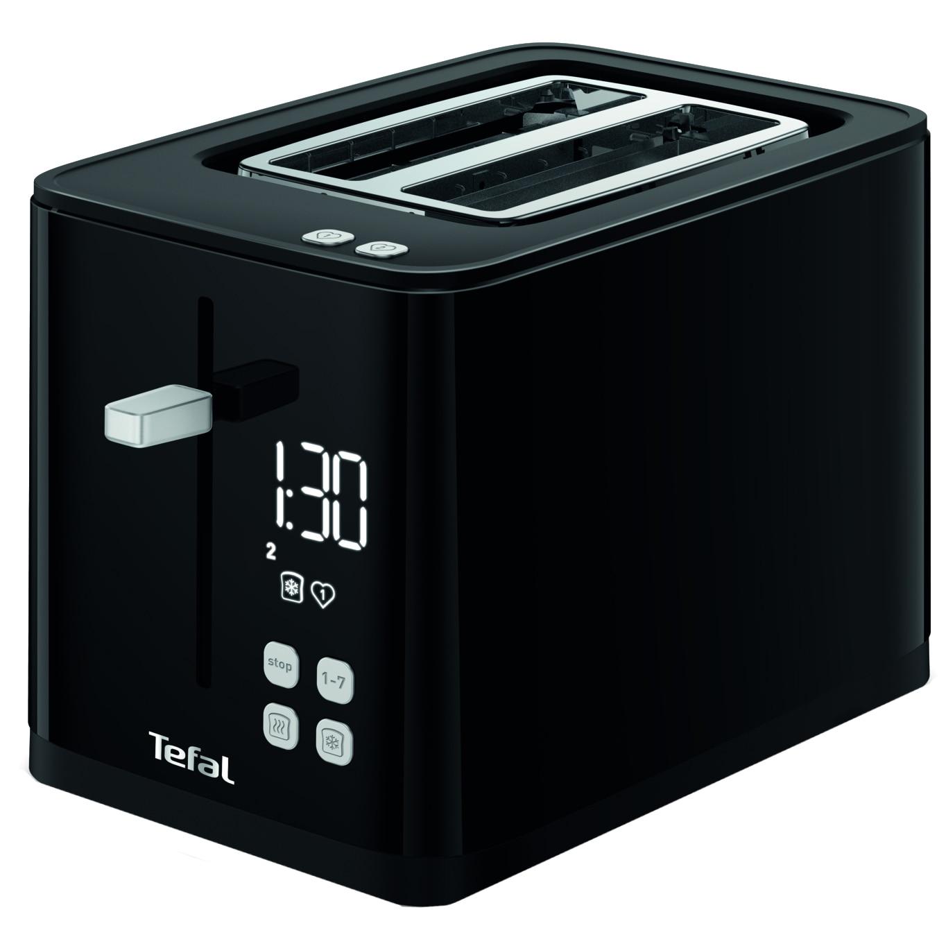 Fotografie Prajitor de paine TEFAL Smart'n Light TT640810, 850W, ecran digital, 3 functii dedicate, 7 niveluri de rumenire, Negru