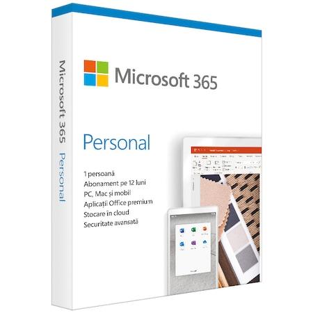 Microsoft 365 Personal, Engleza, Subscriptie 1 an, 1 utilizator, Medialess Retail