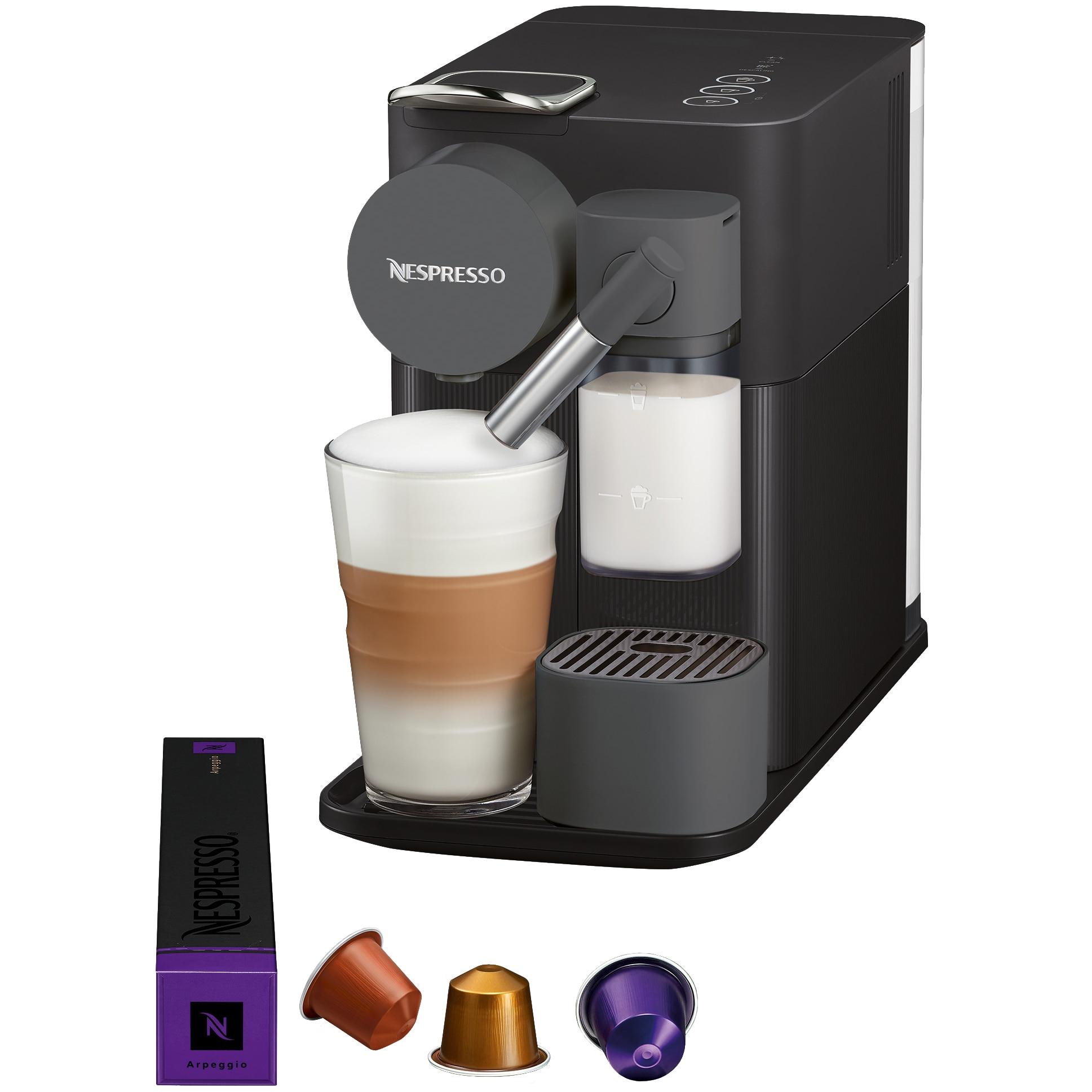 Fotografie Espressor Nespresso EN-500.B-RO Lattissima One, 19 bari, 1400 W, 1 l, Negru + 14 capsule cadou
