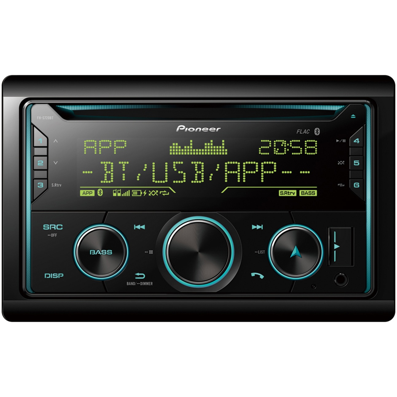Fotografie CD player auto Pioneer FH-S720BT, 2DIN, Bluetooth, Spotify, 4x50W, USB, iluminare Multicolor, compatibil dispozitiv Apple/Android, Pioneer ARC App