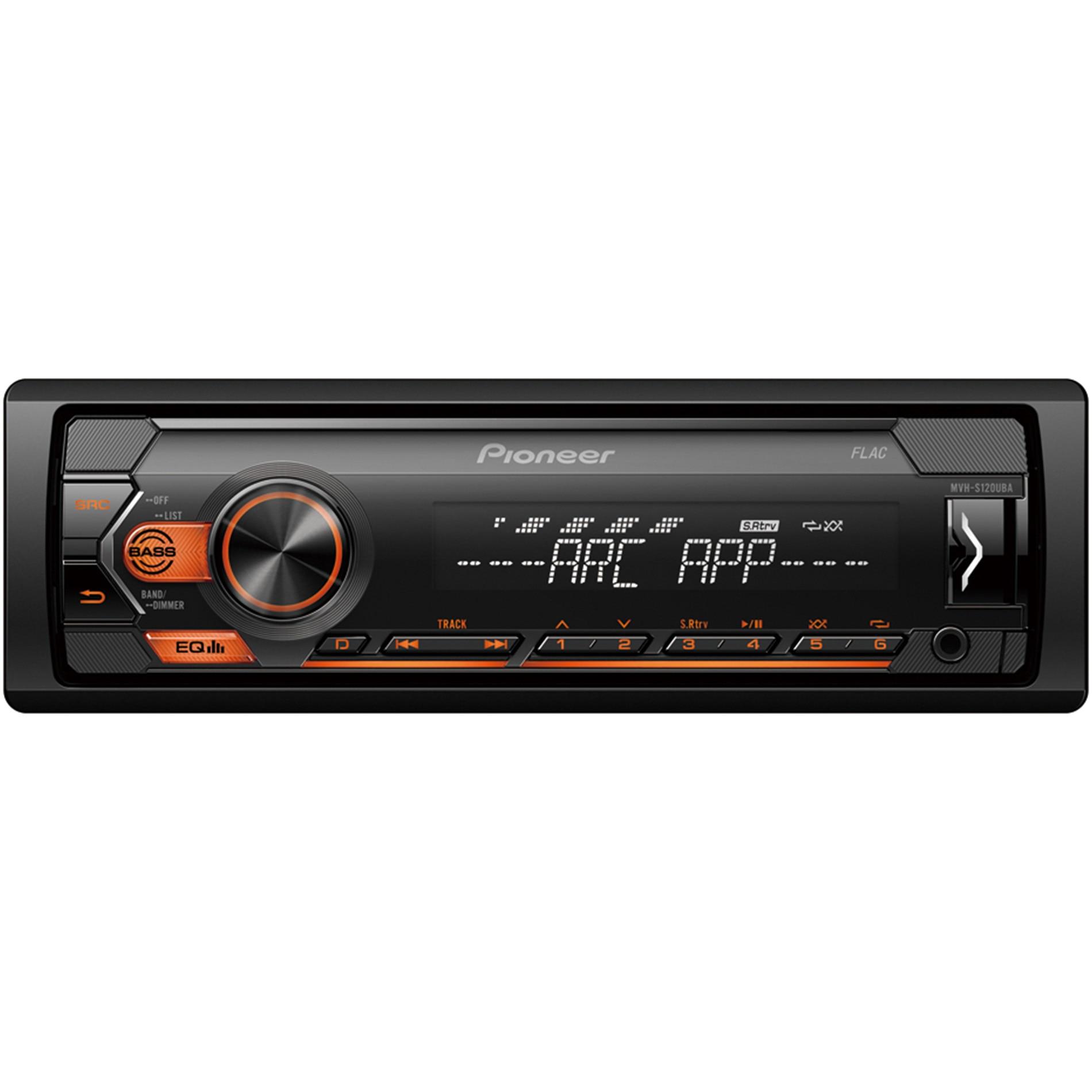 Fotografie Radio MP3 auto Pioneer MVH-S120UBA, 1DIN, 4x50W, USB, compatibil cu dispozitive Android, taste Portocaliu, display Alb