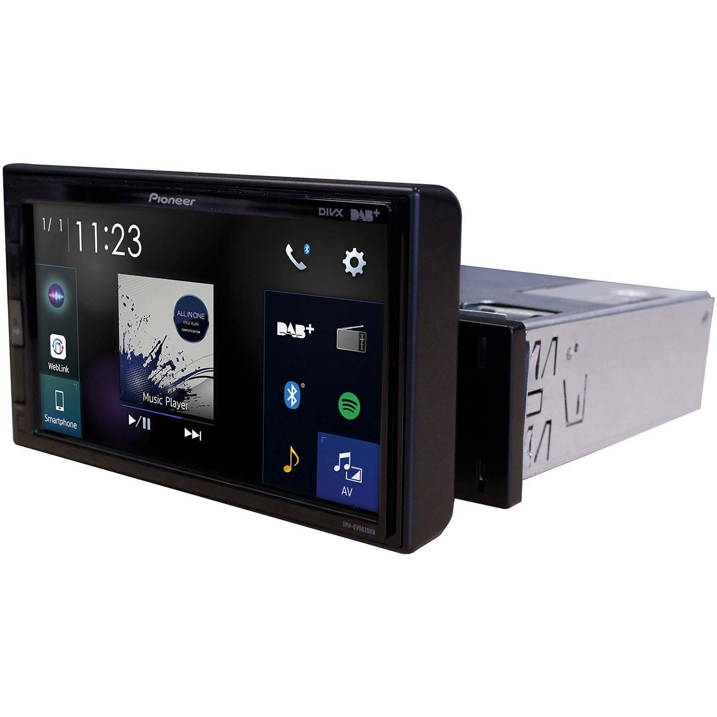 Fotografie Multimedia player auto Pioneer SPH-EVO62DAB-UNI, 1 DIN, DAB/DAB+, Bluetooth, Spotify, Android Auto, Apple CArPlay, WebLink, USB
