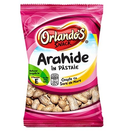 Arahide in pastaie coapte cu sare Orlandos Snack, 500g