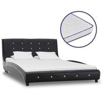 vidaXL fekete műbőr ágy 5 rétegű memóriahabos matraccal 120 x 200 cm