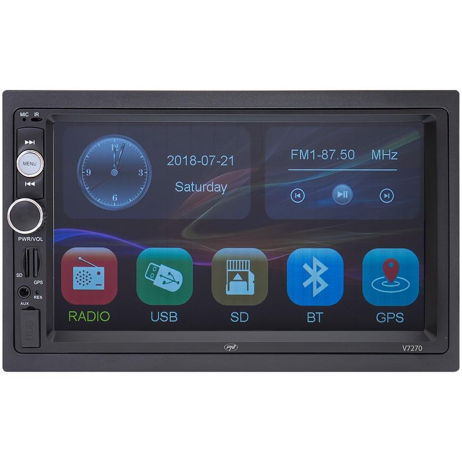 Fotografie Navigatie multimedia PNI V7270 2 DIN cu GPS MP5, touch screen 7 inch, radio FM, Bluetooth, Mirror Link, AUX, USB, microSD