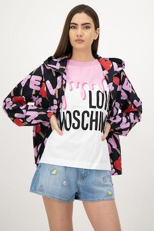 Love Moschino, Jacheta cu imprimeu logo si fermoar, Multicolora
