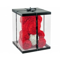 Rózsa maci díszdobozban, örök virág maci - piros fehér szívvel 40 cm