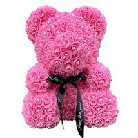 Rózsa maci csillogó strasszkövekkel, örök virág maci - rózsaszín 40 cm