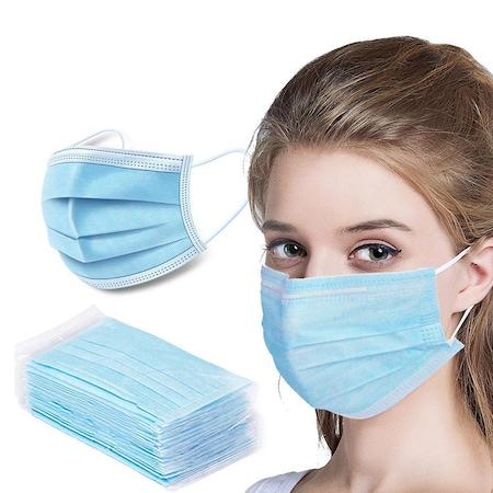 Set 40 bucati masti de protectie respiratorie, 3 Straturi, Albastra,Safe Protection