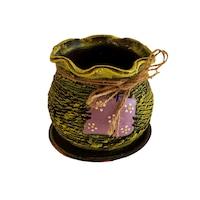 Ghiveci ceramic, cu petec pentru flori cu farfurie si orificiu pentru scurgerea apei, 11 x 12, verde