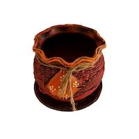 Ghiveci ceramic, cu petec pentru flori cu farfurie si orificiu pentru scurgerea apei, 11 x 12, rosu