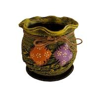 Ghiveci ceramic, cu petec pentru flori cu farfurie si orificiu pentru scurgerea apei, 14 x 14, verde