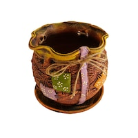 Ghiveci ceramic, cu petec pentru flori cu farfurie si orificiu pentru scurgerea apei, 17 x 18, portocaliu