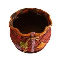 Ghiveci ceramic, cu petec pentru flori cu farfurie si orificiu pentru scurgerea apei, 21 x 25, rosu