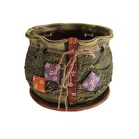 Ghiveci ceramic, cu petec pentru flori cu farfurie si orificiu pentru scurgerea apei, 21 x 25, verde