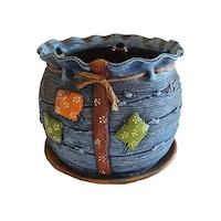 Ghiveci ceramic, cu petec pentru flori cu farfurie si orificiu pentru scurgerea apei, 21 x 25, albastru