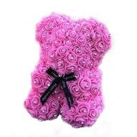 Rózsa maci csillogó strasszkövekkel, örök virág maci - rózsaszín 25 cm