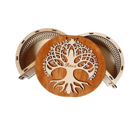 Cutie pentru bijuterii copacul vietii, LaserCreativeArt, lemn mesteacan, 17x15x6 cm